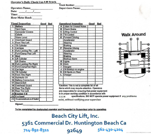 Forklift Operator Daily Checklist Book Format Carbonless 128b Pictures